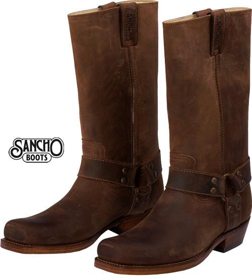 sancho boots leder stiefel braun biker stiefel damen herren western stiefel ebay. Black Bedroom Furniture Sets. Home Design Ideas