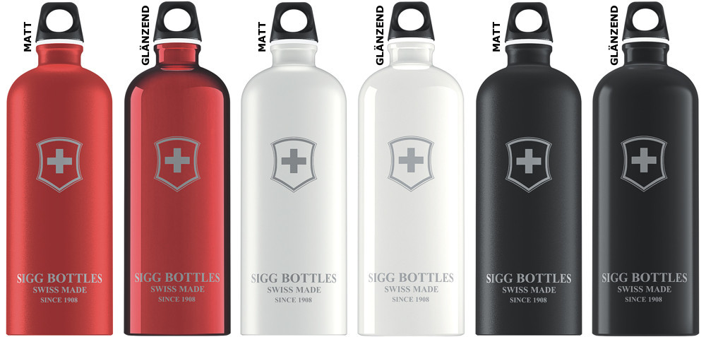 sigg flasche 1 0 l trinkflasche schwarz weiss rot swiss. Black Bedroom Furniture Sets. Home Design Ideas