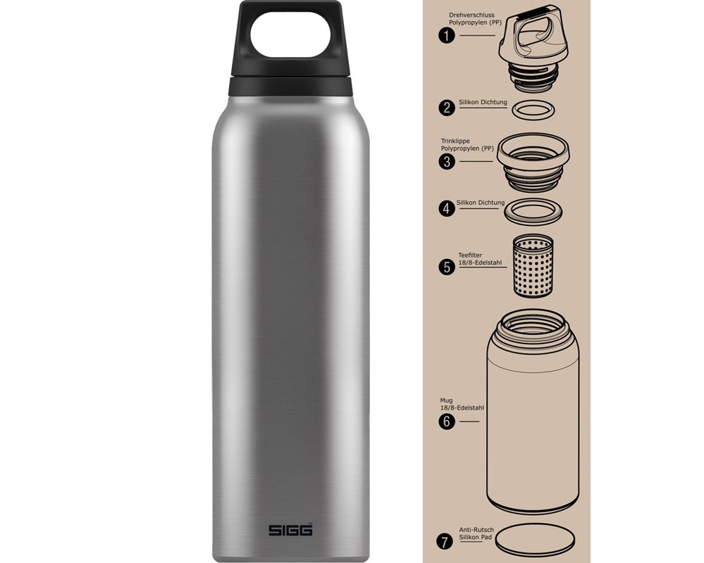 Sigg Thermosflasche Isolierflasche 05 L Hot Cold Teefilter