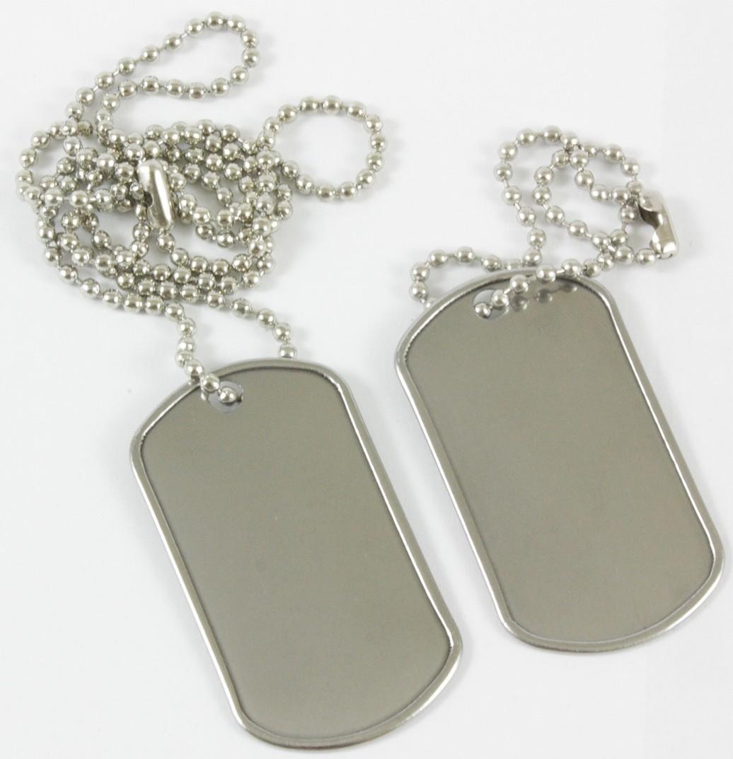 Dog Tag US Style Erkennungsmarken mit 2 Ketten Silber