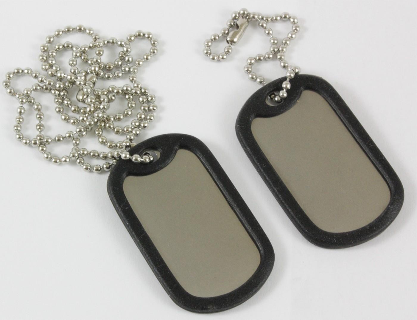 Dog Tag US Style Erkennungsmarken 2 Stück mit Schalldämpfer inkl. Ketten Silber