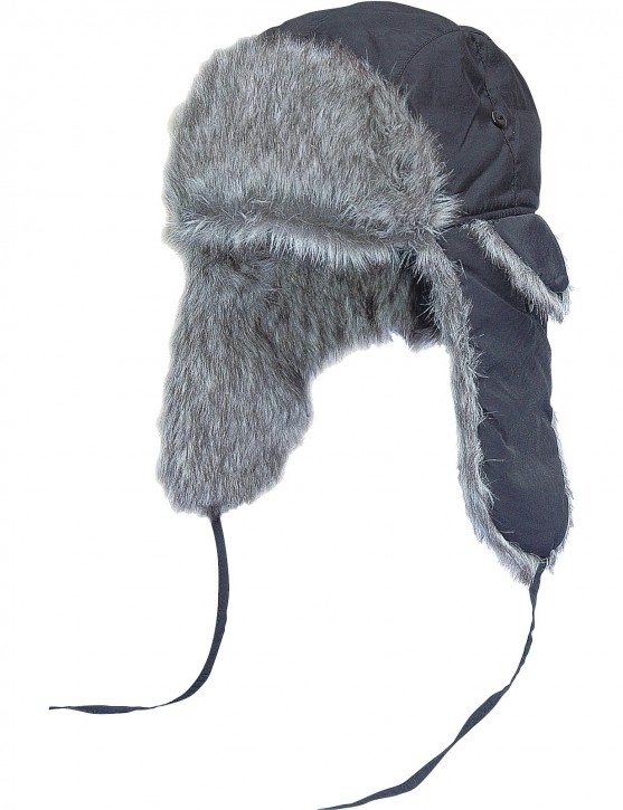 Fliegermütze Russian Style Schwarz Wolfgrau