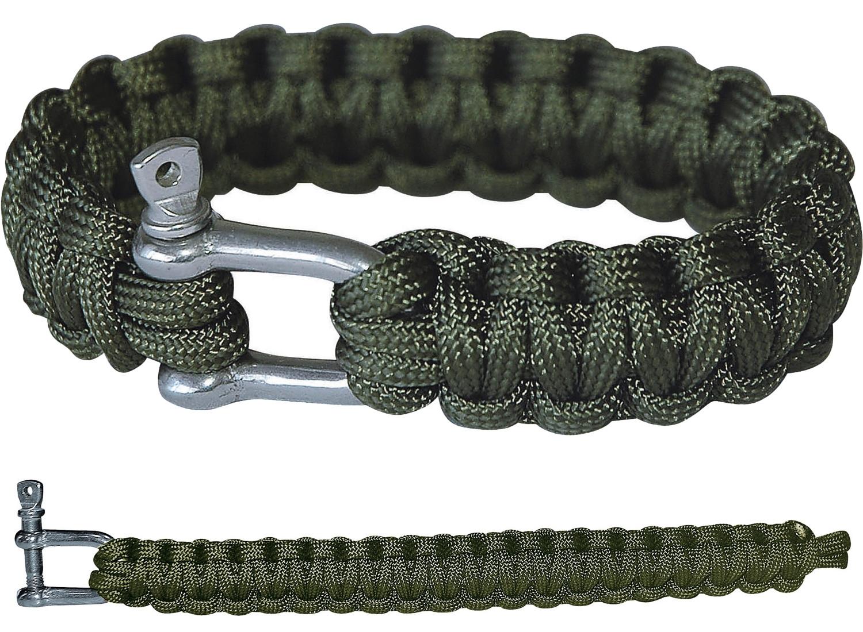 PARACORD Survival Militär Armband Metall-Verschluss Grün Oliv