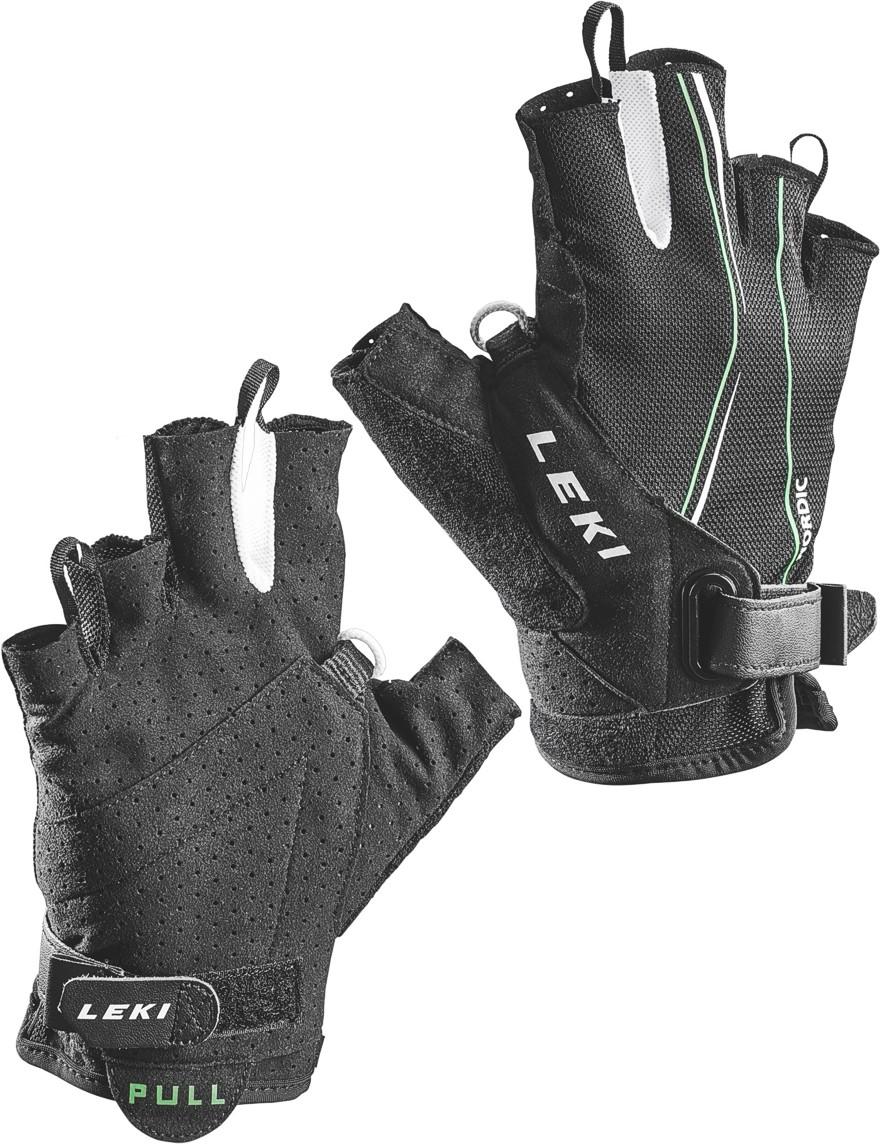 LEKI Handschuhe »Nordic Lite Shark Short« Schwarz-Neongrün-Weiß