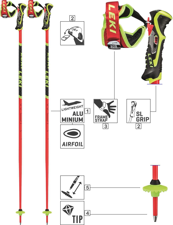 LEKI Skistöcke Alpin Racing »WCR TBS SL« Trigger 3D ALU Neonrot