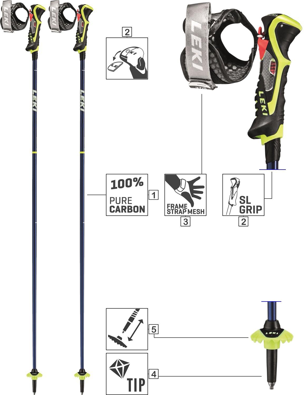 LEKI Skistöcke »Carbon 14« Alpin Trigger 3D Blau