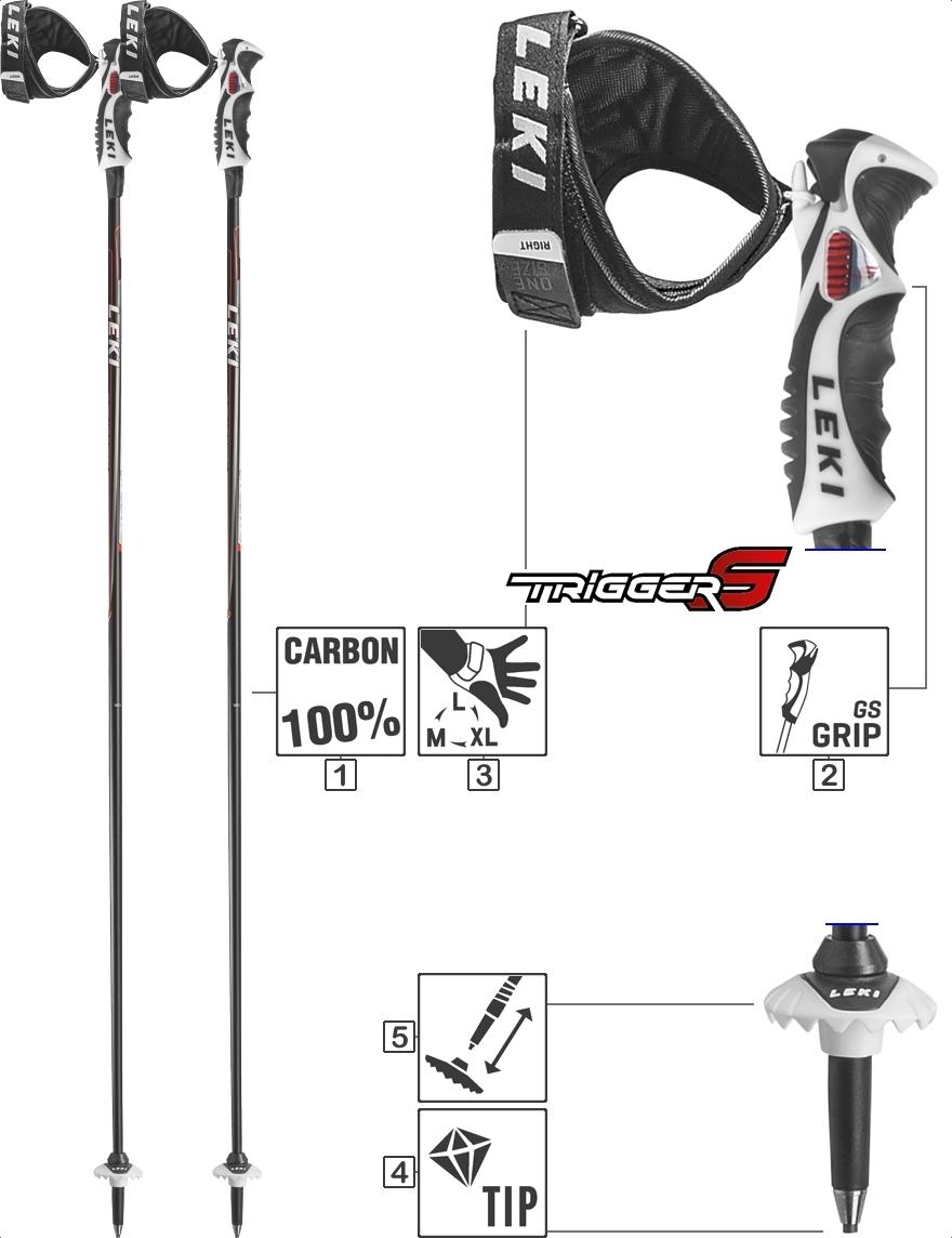 LEKI Skistöcke »Carbon 14 S« Trigger S Schwarz Anthrazit Weiß Rot