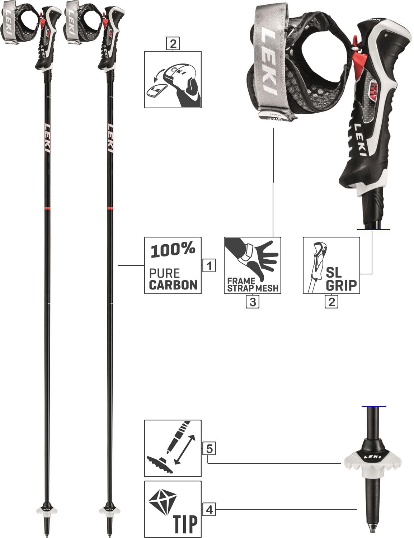 LEKI Skistöcke »Carbon 14« Alpin Trigger 3D Schwarz
