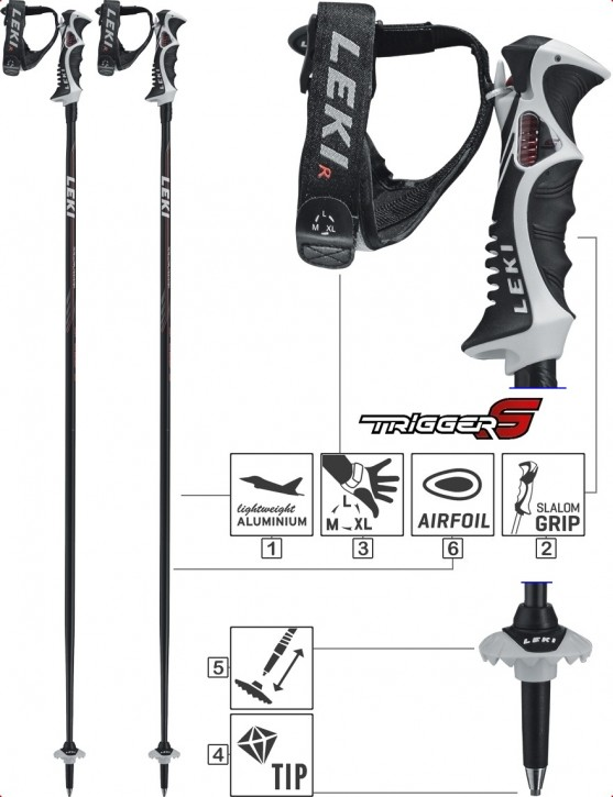 LEKI Skistöcke »Speed S« Trigger S ALU Schwarz Grau Weiß Rot