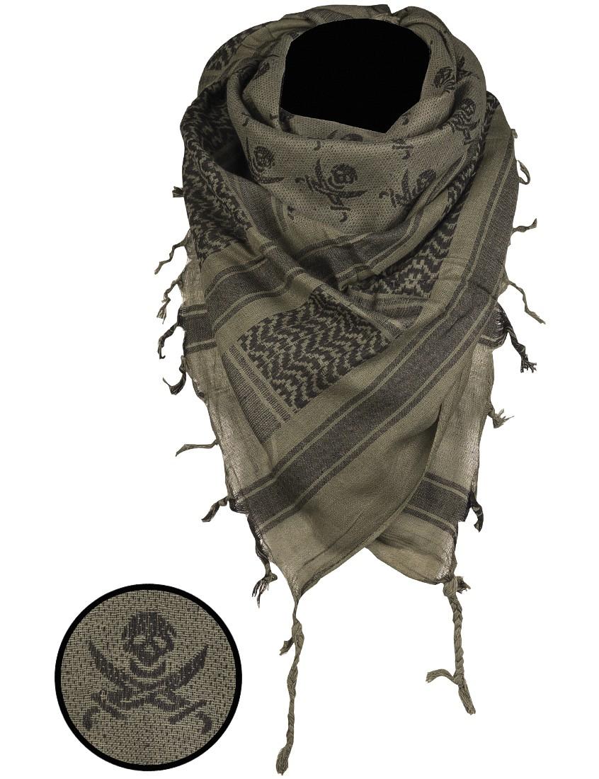 Shemagh Palästinenser Tuch Kopftuch Schal Halstuch »Skull« Oliv Schwarz