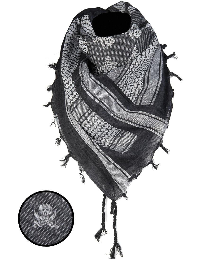 Shemagh Palästinenser Tuch Kopftuch Schal Halstuch »Skull« Schwarz Weiss