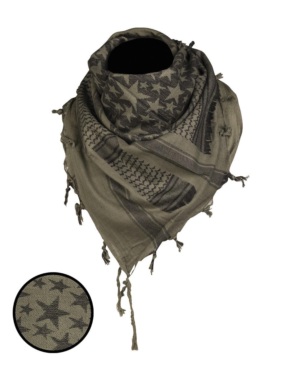 Shemagh Palästinenser Tuch Kopftuch Schal Halstuch »Stars« Oliv Schwarz
