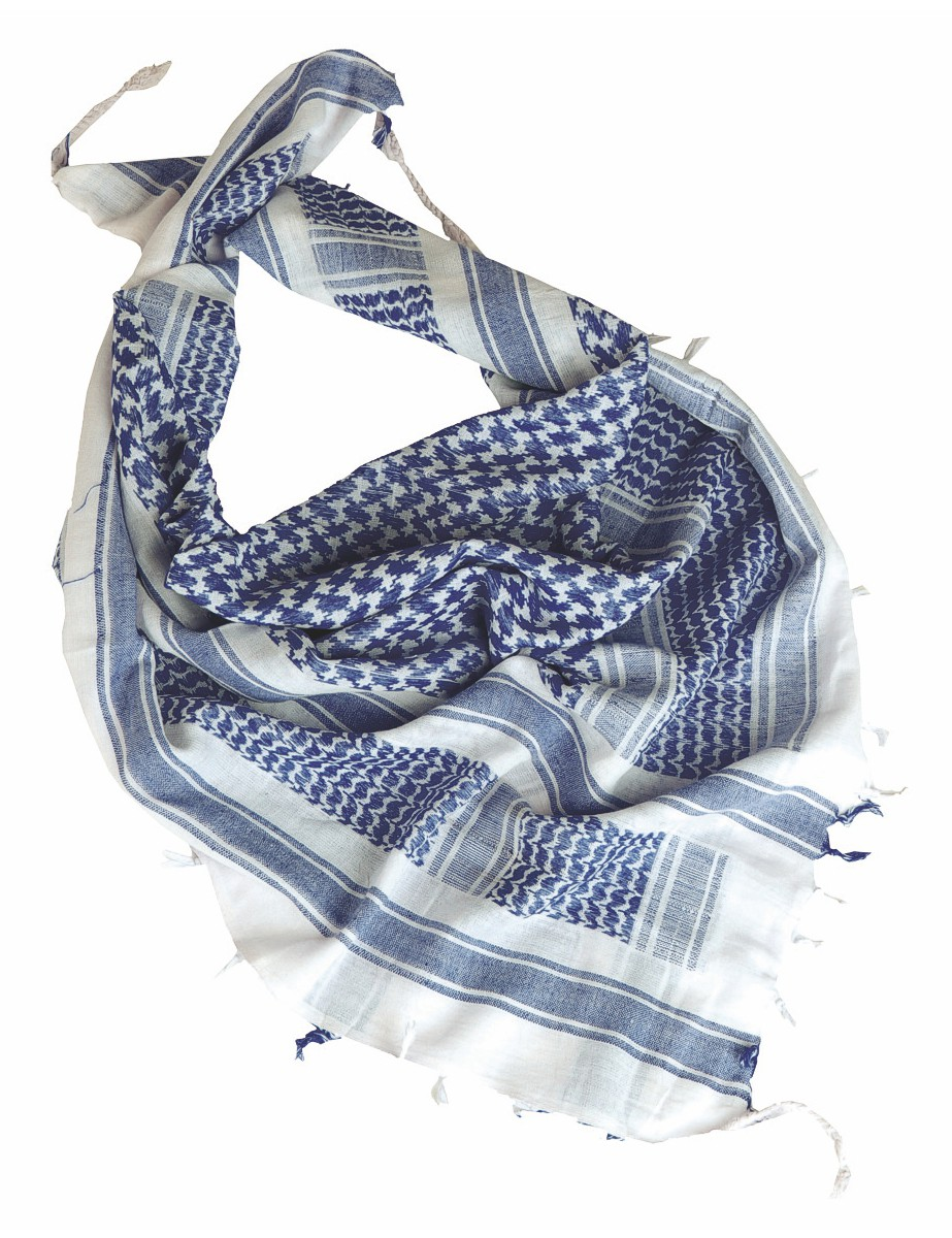 Shemagh Palästinenser Tuch Kopftuch Schal Halstuch Weiss Blau