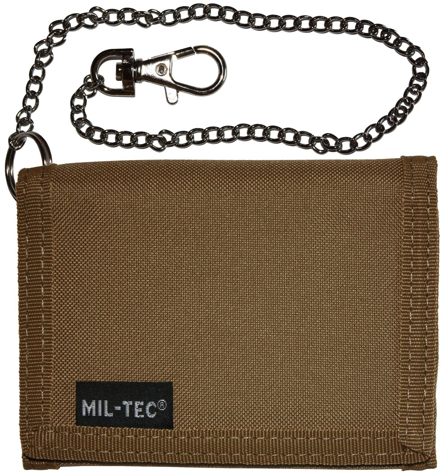 Mil-Tec Geldbeutel Geldbörse Klettverschluss Sicherheitskette Coyote