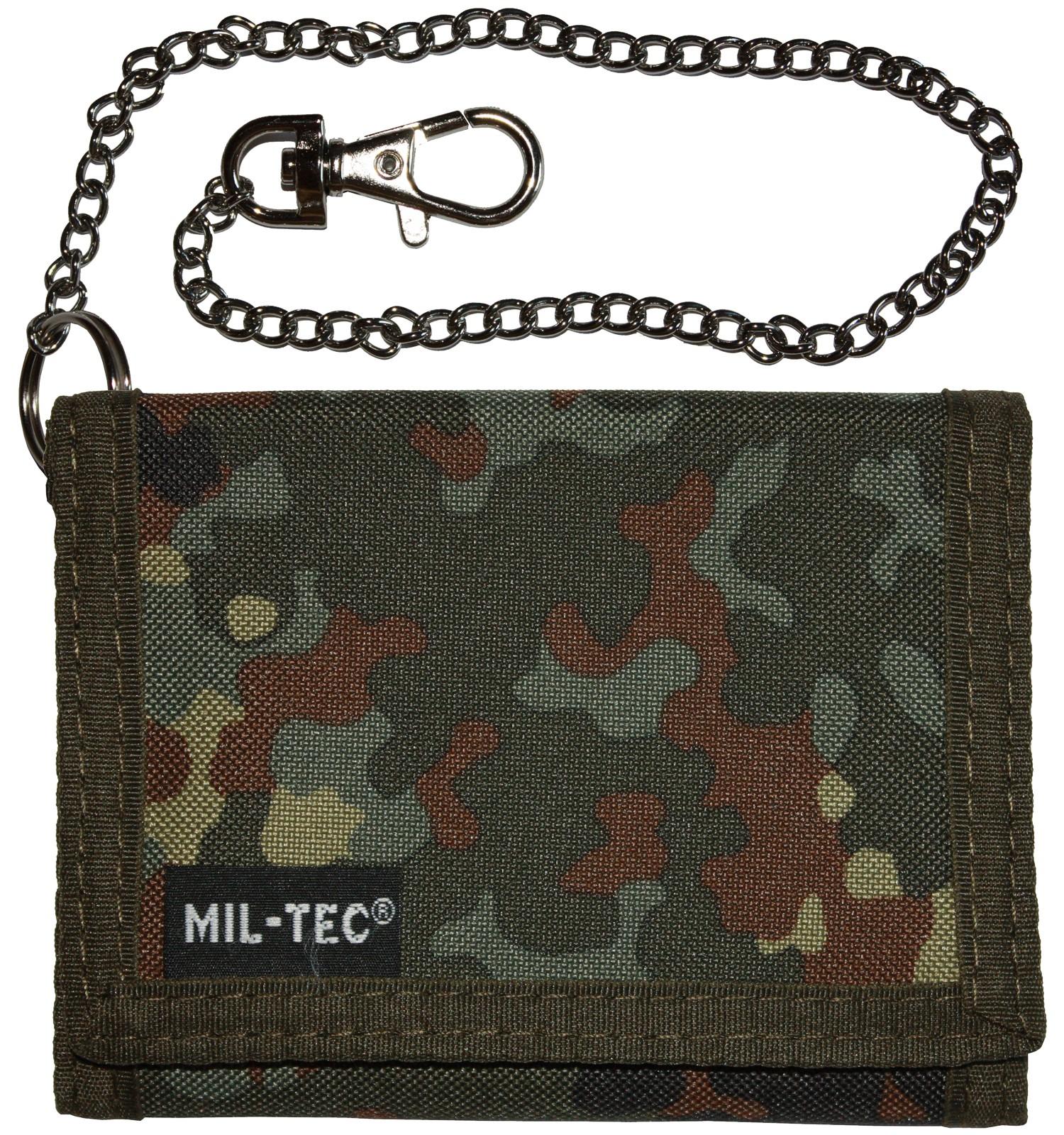 Mil-Tec Geldbeutel Geldbörse Klettverschluss Sicherheitskette Flecktarn