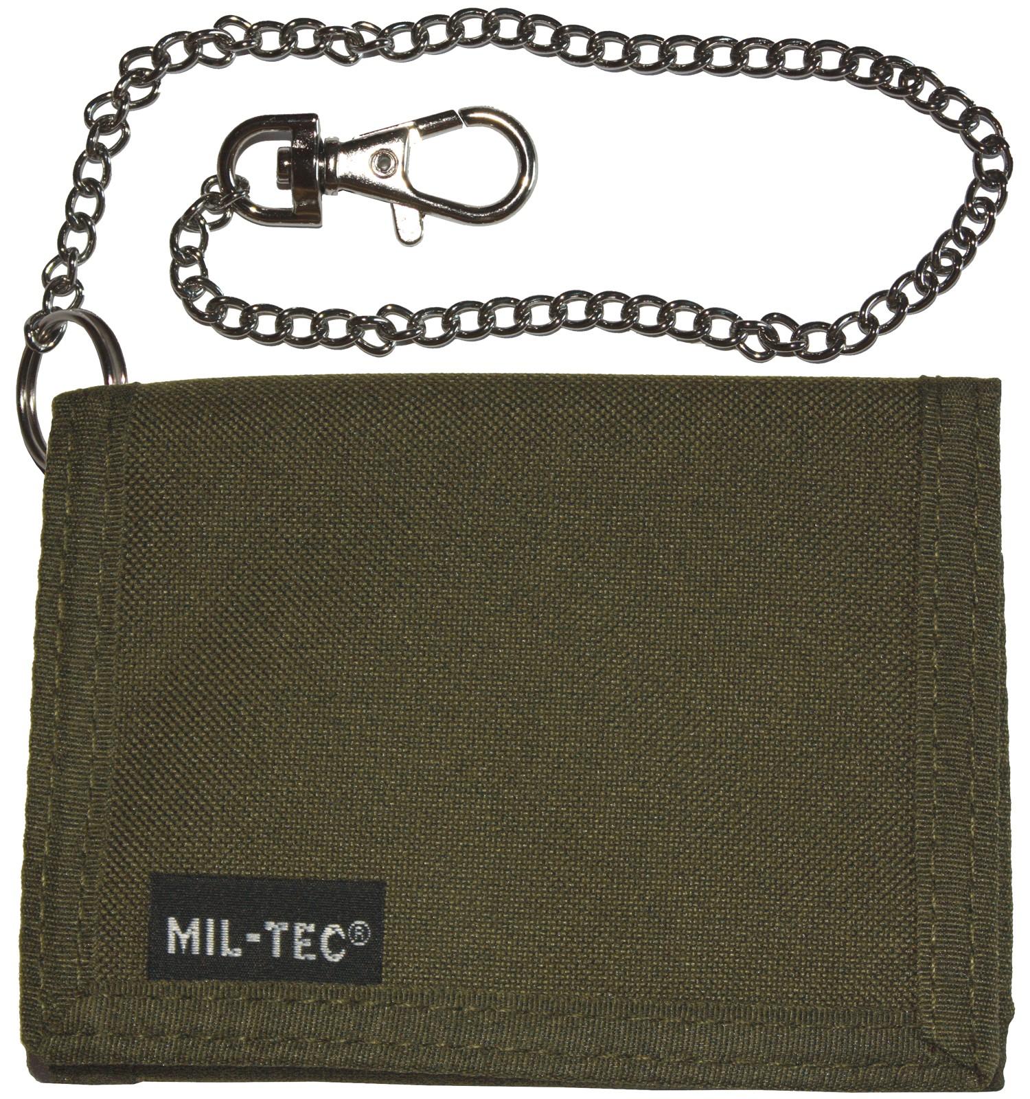 Mil-Tec Geldbeutel Geldbörse Klettverschluss Sicherheitskette Oliv