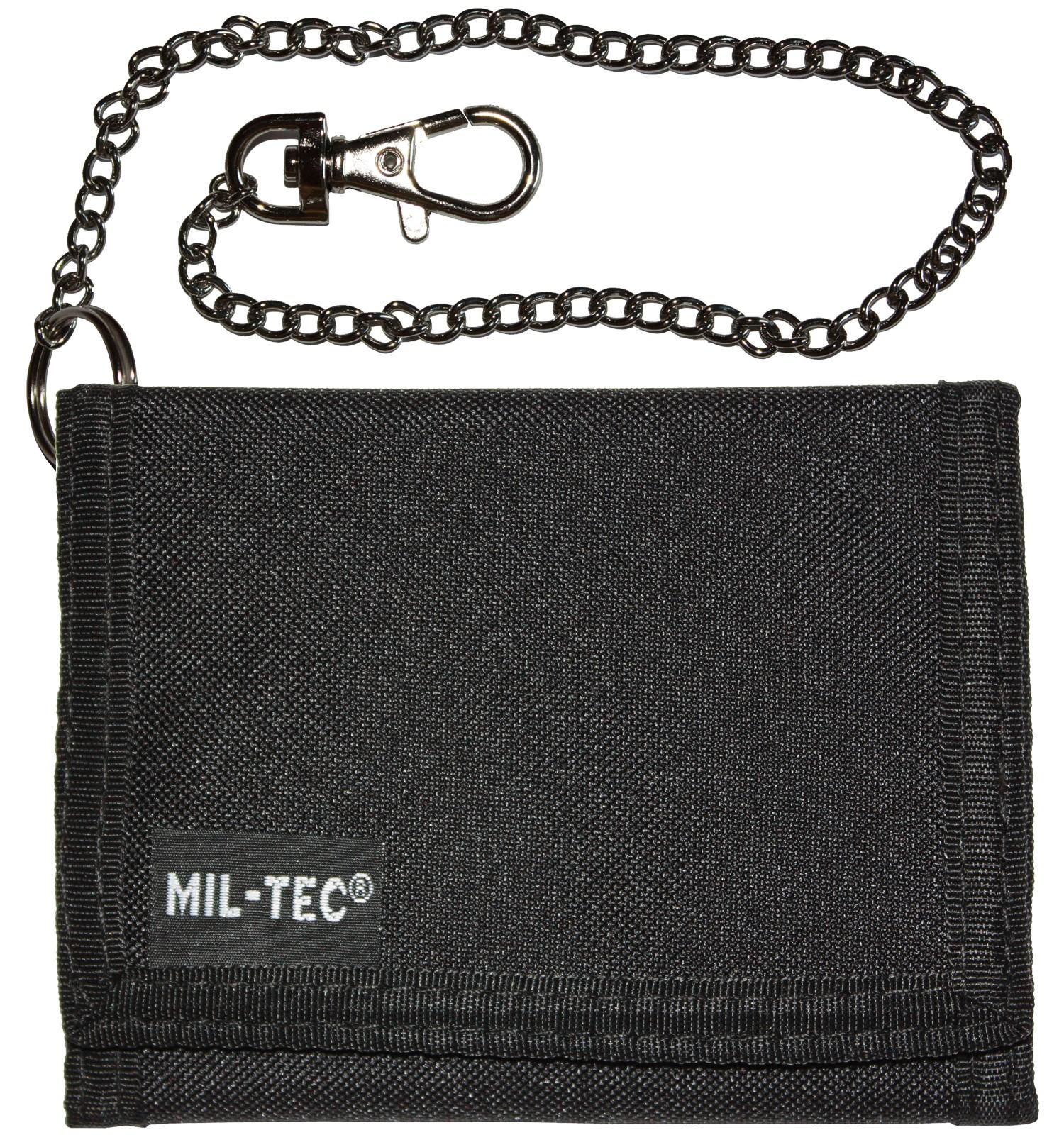 Mil-Tec Geldbeutel Geldbörse Klettverschluss Sicherheitskette Schwarz