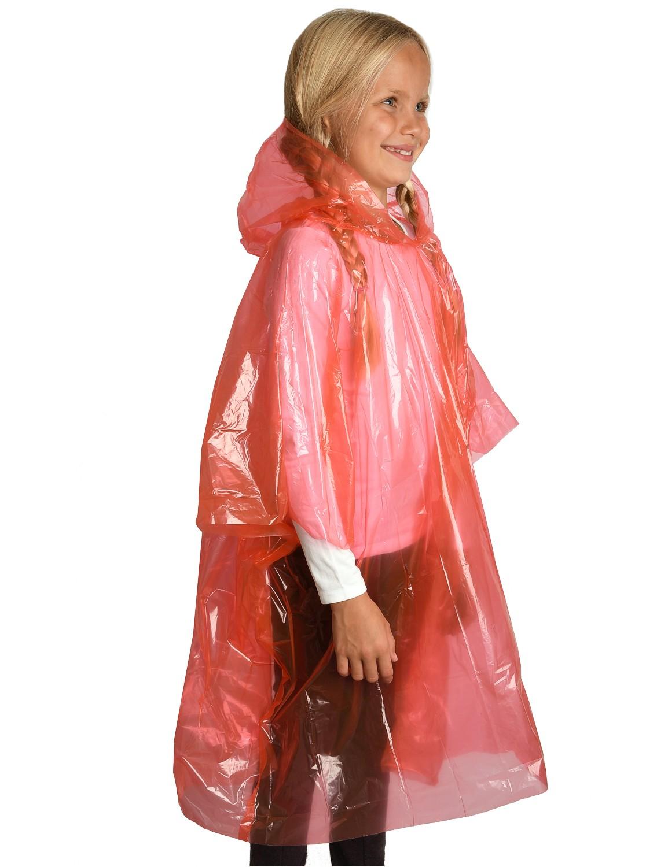 Regenponcho für Kinder mit Kapuze Einheitsgröße ROT