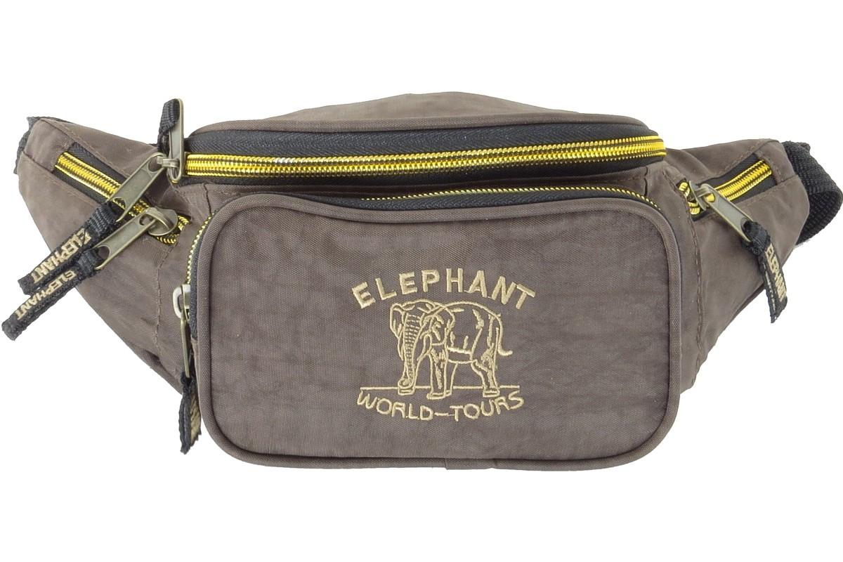 Bauchtasche Gürteltasche »Elephant World Tours Globetrotter« Dunkelbraun