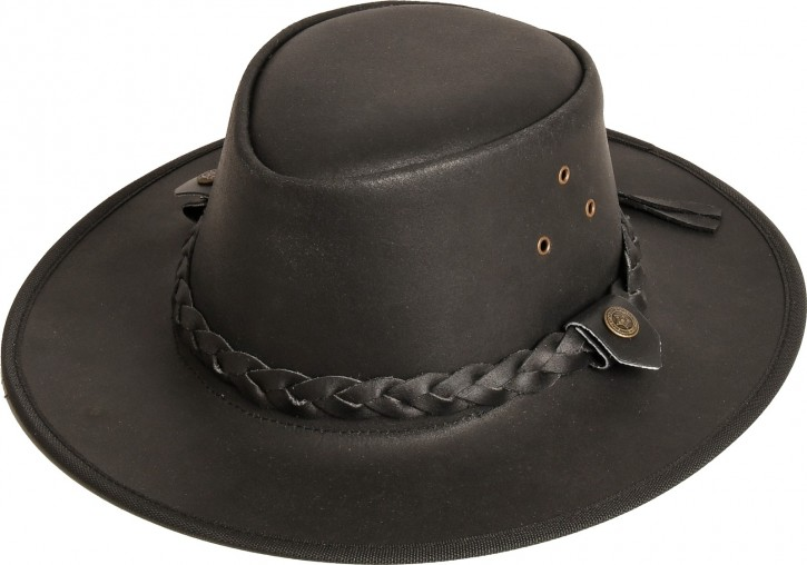 Rugged Earth Leder Westernhut Cowboyhut »Hooley« Schwarz Gr.L