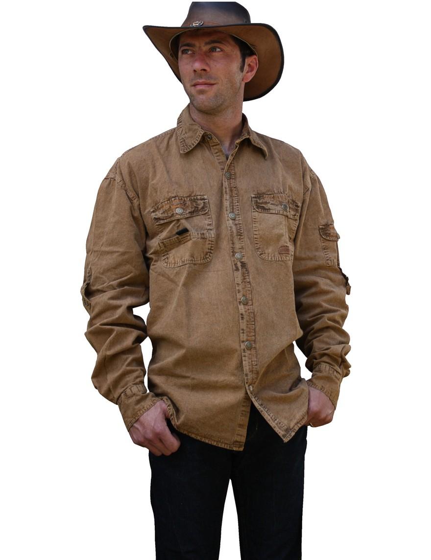 Scippis »Cowra« Canvas Shirt im Hemden-Style Tobacco