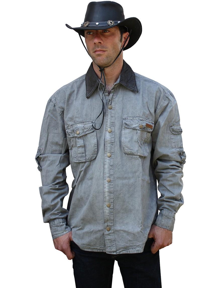 Scippis »Leeton« Canvas Shirt im Hemden-Style Grey