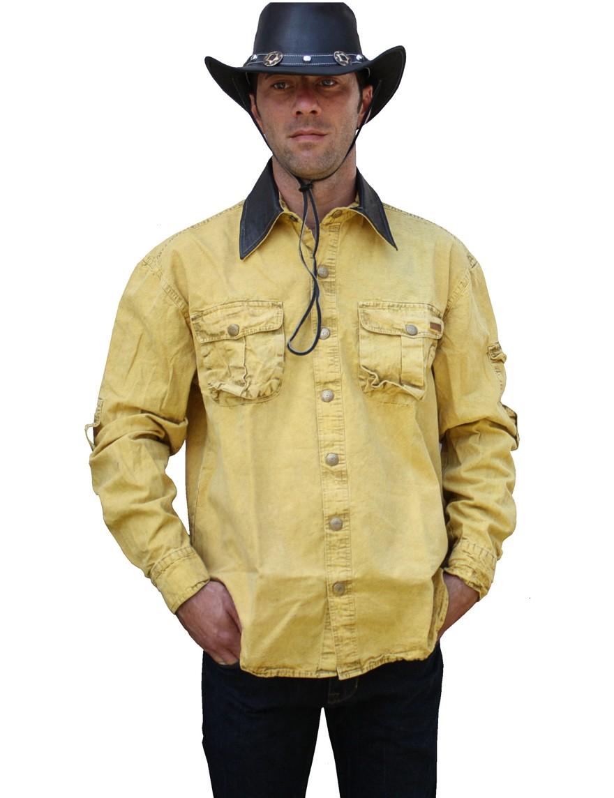 Scippis »Leeton« Canvas Shirt im Hemden-Style Mustard