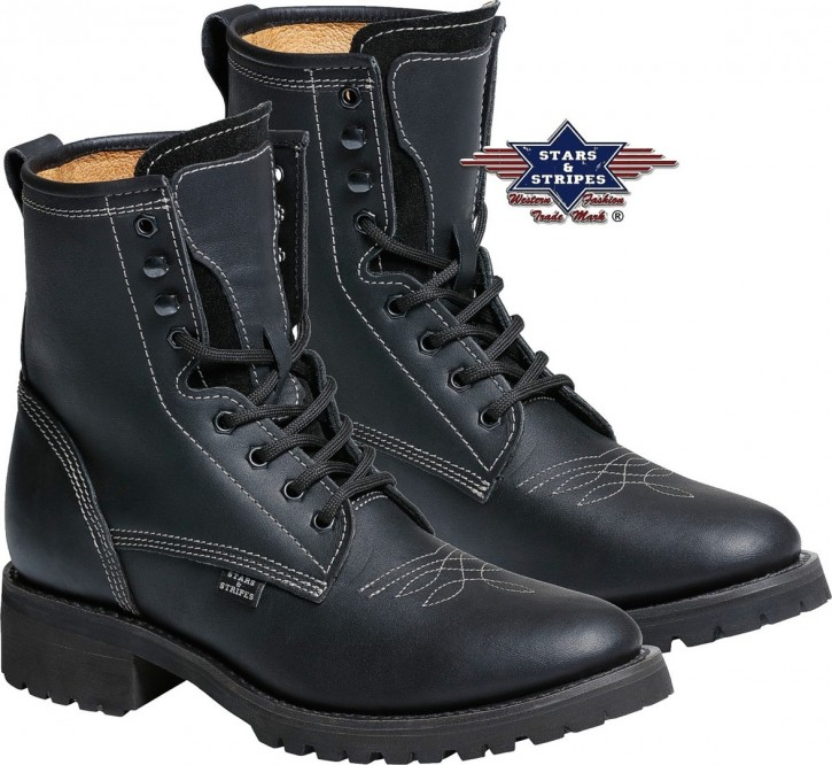 Stars & Stripes Herren Damen Stiefel Western Boots »WB35« Schwarz