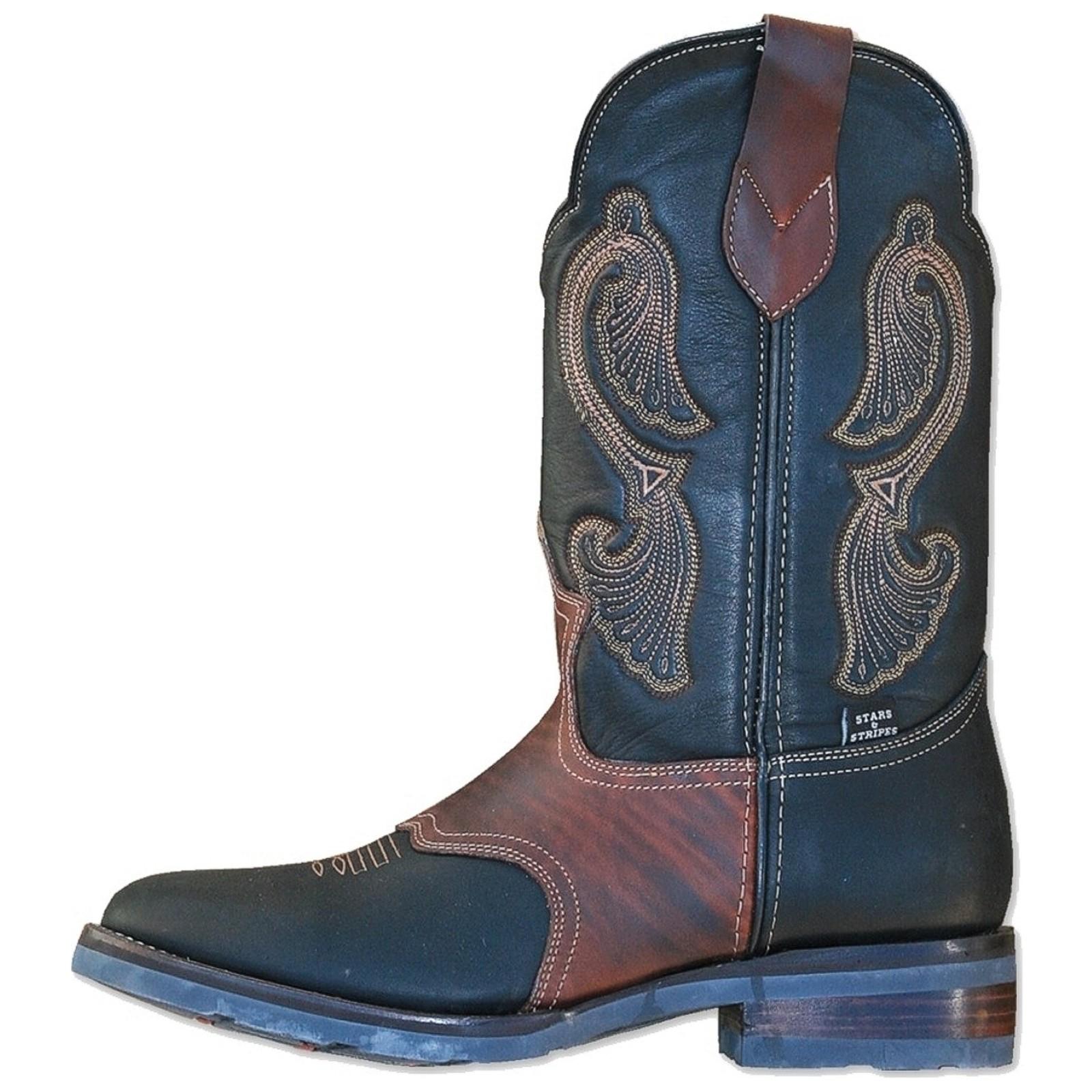 Stars & Stripes Herren Damen Stiefel Western Boots »WB-26« Schwarz / Braun