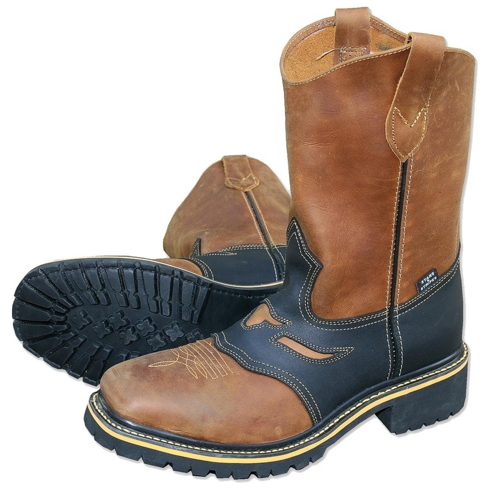 Stars & Stripes Herren Stiefel Worker Boots »WB-32« Braun / Schwarz
