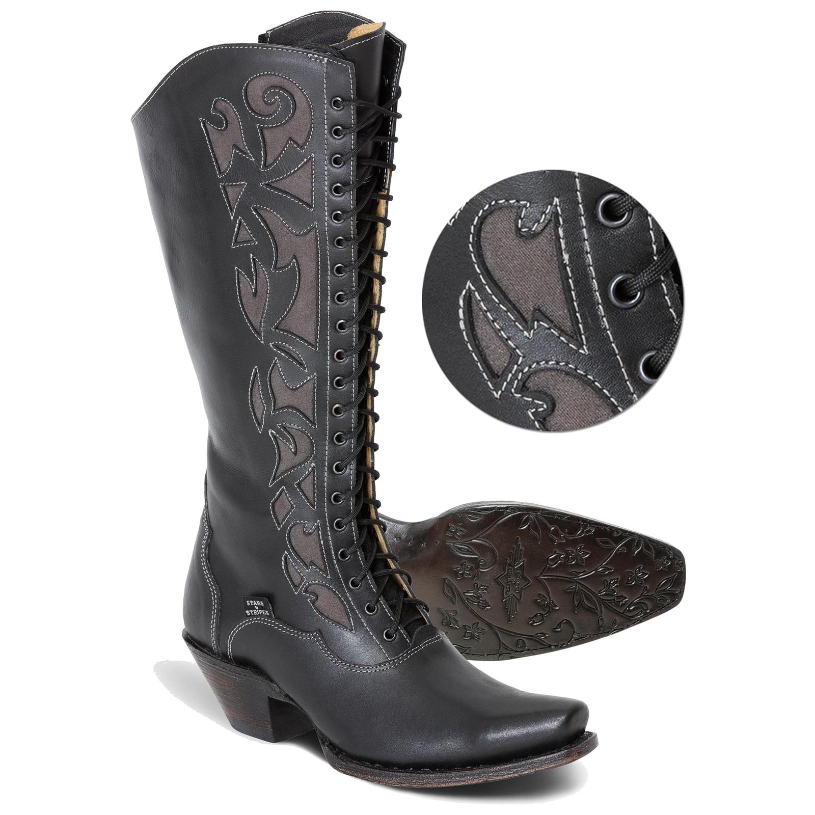 Stars & Stripes Damen Stiefel Western Boots »WBL-30« Schwarz