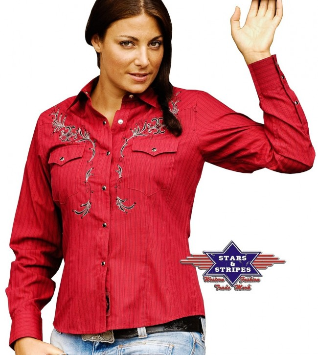 Stars & Stripes Westernbluse »BONNIE« Rot