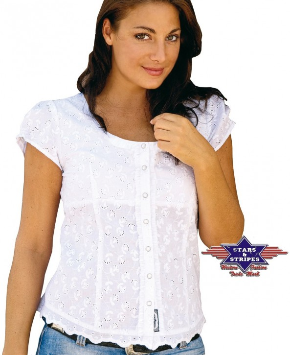 Stars & Stripes Westernbluse »VIRGINIA« Weiß