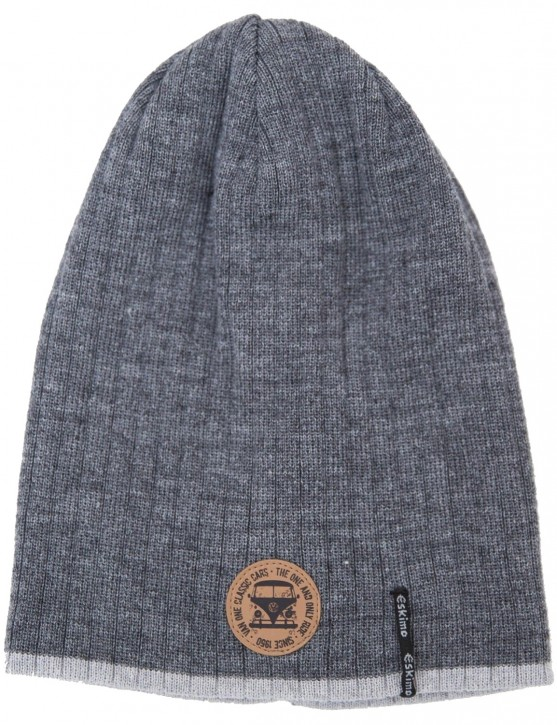 Beanie Strickmütze RIB Design »VW BULLI« Dark Grey Light Grey 55/57