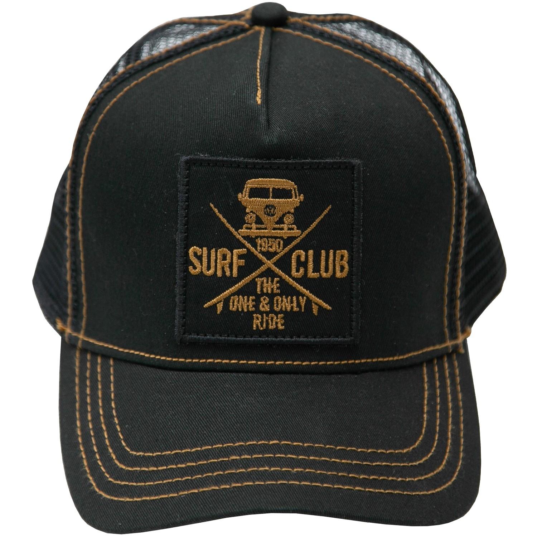 Herren Baseball Cap Basecap VW Bulli Cap Kappe Mütze »SURF CLUB« Schwarz Gold
