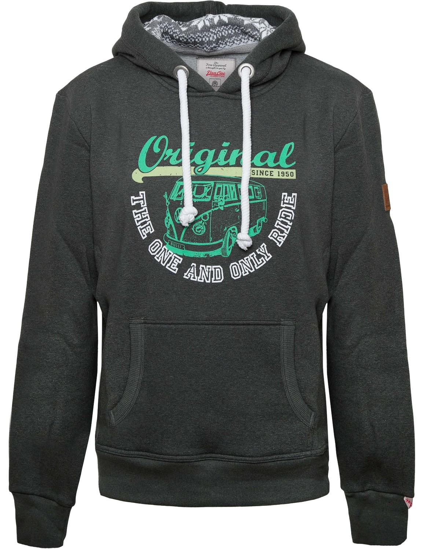 Herren Hoodie VW Bulli »ORIGINAL RIDE« Grau Weiß Grün