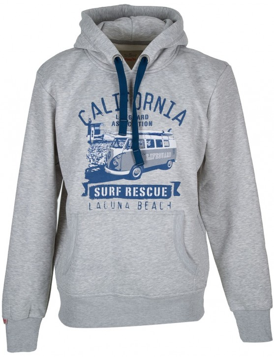 Männer Hoodie Van One VW Bulli »LAGUNA BEACH« Light Grey / Blue