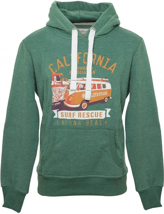 Herren Hoodie VW Bulli LAGUNA BEACH New Green / Orange