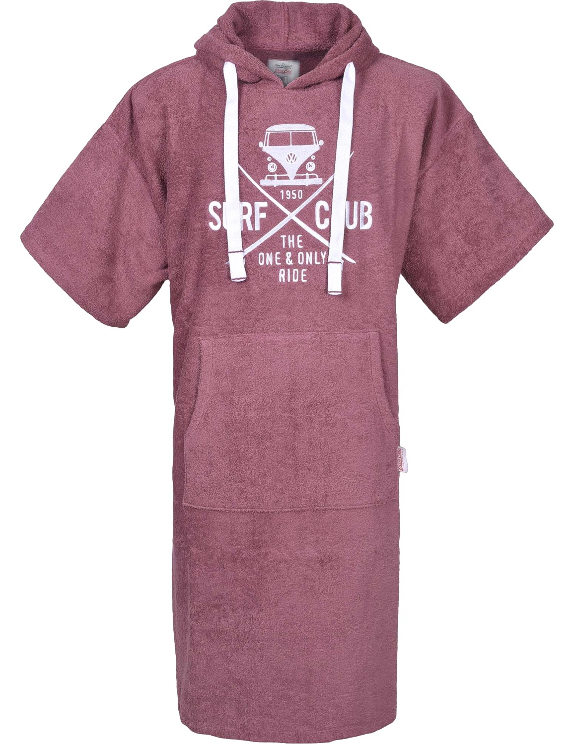 Poncho Strandponcho Bademantel VW Bulli »SURF CLUB« Berry Bordeaux Weiß
