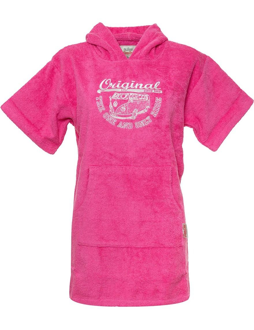 Kids Poncho Strandponcho Bademantel VW Bulli »ORIGINAL RIDE« Pink Weiß Gr.XS
