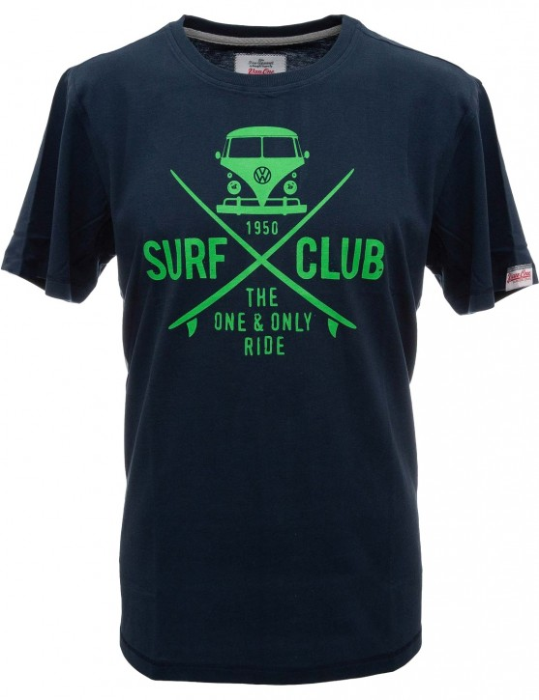 Herren T-Shirt VW Bulli »SURF CLUB« Blau Neon Grün