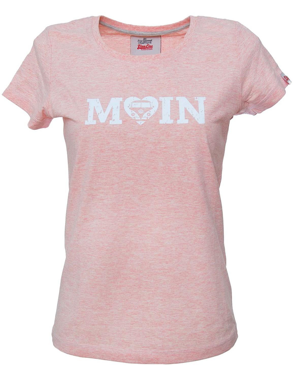 Damen T-Shirt VW Bulli »MOIN USED« Rosa Weiß