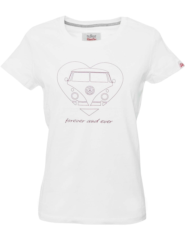 Damen T-Shirt VW Bulli »BULLI FOREVER« Weiß Bordeaux