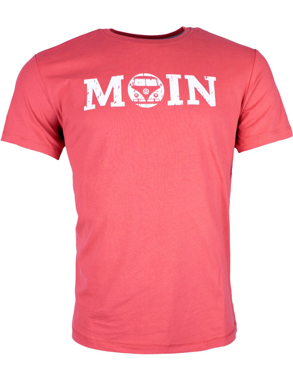 Herren T-Shirt VW Bulli »MOIN« Rot Weiß