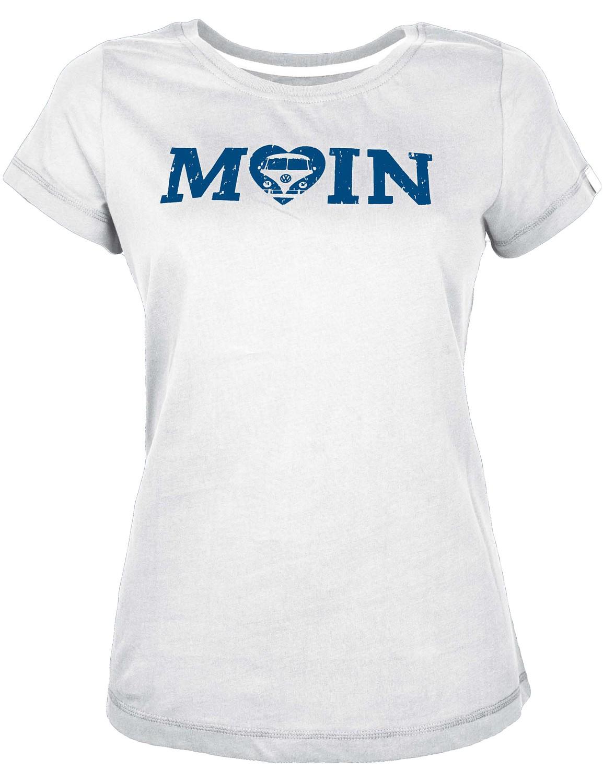 Damen T-Shirt VW Bulli »MOIN« Weiß Blau