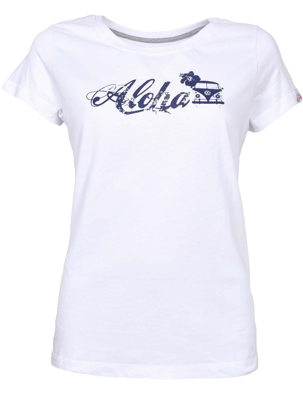 Damen T-Shirt VW Bulli »ALOHA« Weiß Blau