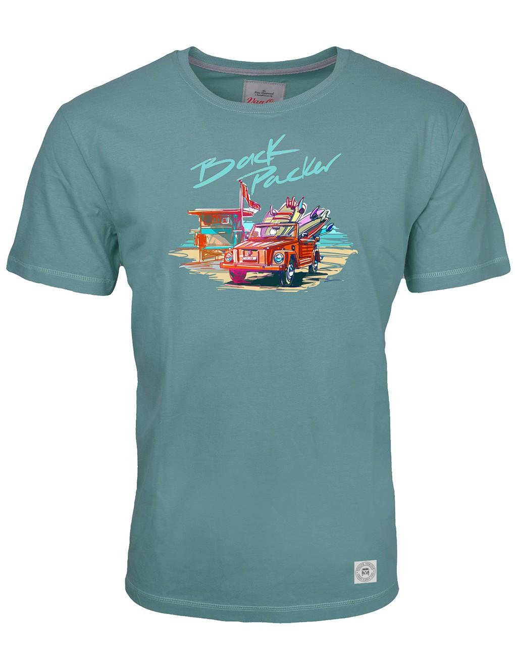 Herren T-Shirt VW Bulli »BACK PACKER« Petrol