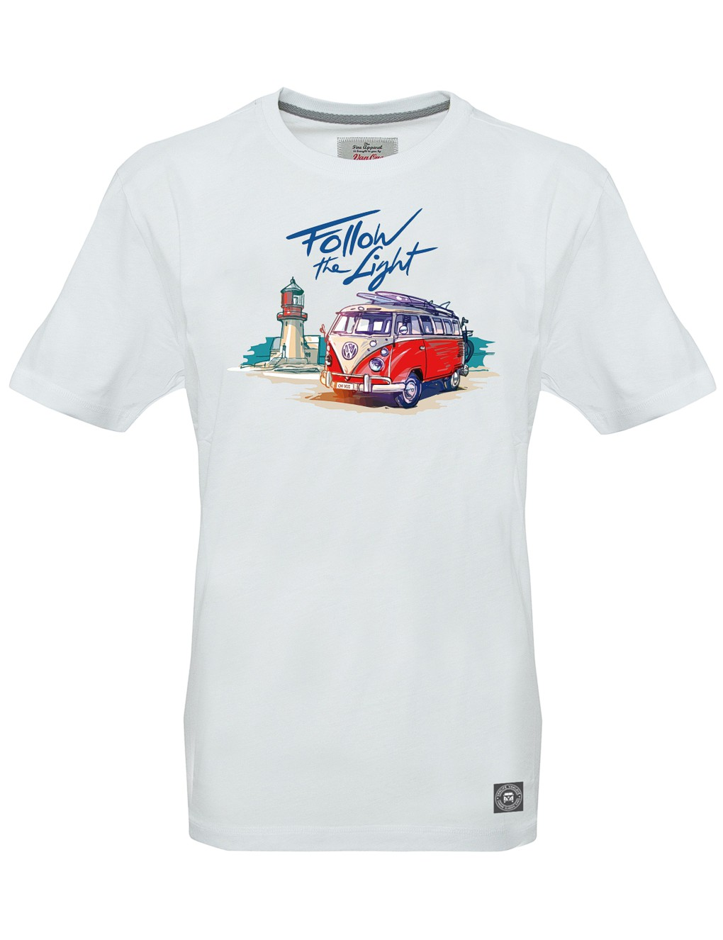 Herren T-Shirt VW Bulli »FOLLOW THE LIGHT« Weiß