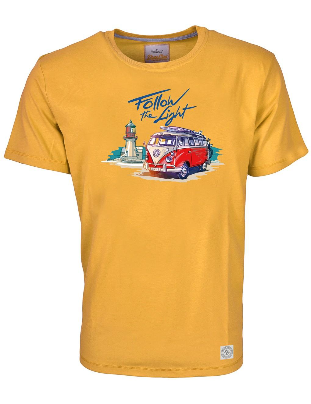 Herren T-Shirt VW Bulli »FOLLOW THE LIGHT« Gelb