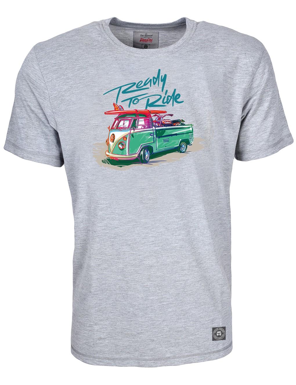 Herren T-Shirt VW Bulli »READY TO RIDE« Grau